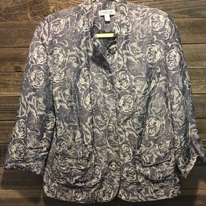 Coldwater Creek blue and white jacket size 14